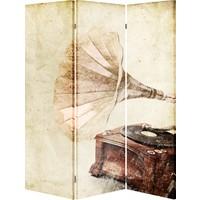 Evmanya Deco Gramofon Paravan Üç Kanat Çift Taraflı 120 x 175 cm Paravan