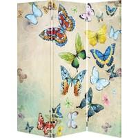 Evmanya Deco Kelebekler Üç Kanat Çift Taraflı 120 x 175 cm Paravan