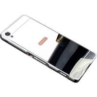 Sonmodashop Sony Xperia XA Ultra Gümüş Metal Aynalı Kılıf + Cam