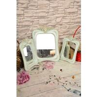 TabloCenter Mint Yeşili Güllü 3lü Kare Ayna