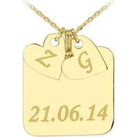 Soufeel Kişiye Özel Dore 925 Ayar Gümüş Künye Kalp İsim Kolye