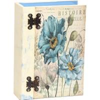 Ahşap Tasarım Ahşap Mücevher ve Aksesuar Kutusu Vintage Çiçekli Kitap Şeklinde