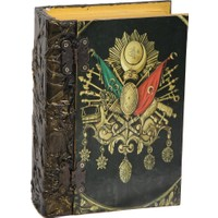 Ahşap Tasarım Ahşap Saat ve Aksesuar Kutusu Osmanlı Armalı Kitap Şeklinde