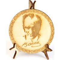 Ahşap Tasarım Atatürk Resmi Tahta Lazer Kesim ve İşlemeli - Küçük Boy İkinci Versiyon