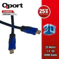 Qport Q-Hdmı25 To Hdmı25 1.4 3D 25 Metre Altın Uçlu Kablo Q-Hdmı25