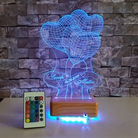 Kalpli İsimli 3 Boyutlu Led Lamba -3D Led Lamba Kişiye Özel Tasarım Lamba