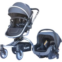 Yoyko 360 Derece Dönebilen Bebek Arabası 3 in 1 Gri Silver Kasa