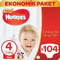 Huggies Bebek Bezi Maxi 4 Beden Ekonomik Paket 104 Adet