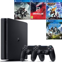 PlayStation 4 Slim 500 Gb Oyun Konsolu + 2. Ps4 Kol + Destiny 2 + Driveclub + Ratchet and Clank + Horizon Zero Dawn