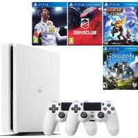 Sony Playstation 4 Slim 500 GB Beyaz Konsol + 2. Ps4 Kol + Fifa 18 + Driveclub + Ratchet and Clank + Horizon Zero Dawn