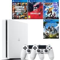 Sony Playstation 4 Slim 500 GB Beyaz Konsol + 2. Ps4 Kol + Gta 5 + Driveclub + Ratchet and Clank + Horizon Zero Dawn