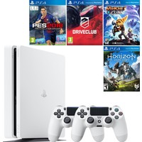 Sony Playstation 4 Slim 500 GB Beyaz Konsol + 2. Ps4 Kol + Pes 18 + Driveclub + Ratchet and Clank + Horizon Zero Dawn