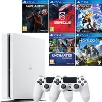 Sony Playstation 4 Slim 500 GB Beyaz + 2. Ps4 Kol + Uncharted Kayıp Miras + Driveclub + Horizon Zero Dawn + Uncharted Coll. + Ratchet and Clank