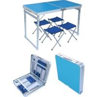 Katlanabilir Piknik Masası Seti Kalın Profil Mavi