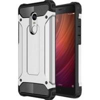 Case 4U Xiaomi Redmi 4x Kılıf Çift Katmanlı Tank Kapak Gümüş
