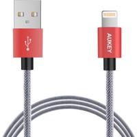 Aukey Lightning Örgülü Kablo 1mt Kırmızı Uçlu (MFI Sertifikalı)