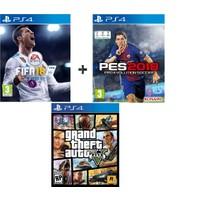 Sony PS4 Fifa 18 + Pes 18 + Gta5 OYUN