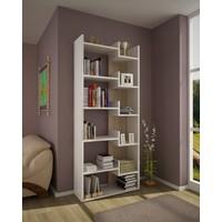 Arya Kitaplık 6 Raflı Beyaz Ceviz Modern Tasarım