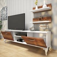 Siesta Duvar Raflı Tv Ünitesi Kitaplıklı Tv Sehpası Beyaz Minyatür Ceviz