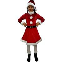 Kostümce Noel Anne Kostümü Kız Çocuk Kadife