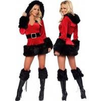 Kostümce Noel Anne Kostümü Siyah Kürklü
