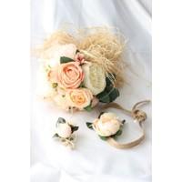 Hidden Botanıcs Kumaş Gelin Buketi+Taç + Yaka Çiçeği