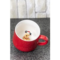 Ceramic Cup Porselen Sürpriz Köpekli Kupa
