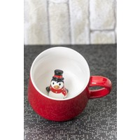 Ceramic Cup Porselen Sürpriz Penguen Kupa
