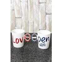 Ceramic Cup Porselen İkili Kupa Set Love One&Only