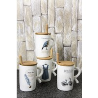 Ceramic Cup Ahşap Kapaklı Porselen Kupa Kuş Desenli
