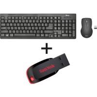 Trust 22118 Kablosuz Klavye Mouse SET + Sandisk 16GB Cruzer Blade