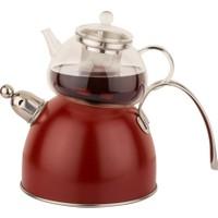 Tantitoni Chef Nature Kırmızı Düdüklü Çaydanlık Takımı