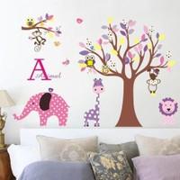 Zooyoo Çocuk Odası Duvar Sticker Fil Zürafa Maymun Aslan Orman Doğa Büyük Görsel 107X80 Cm Dir