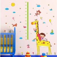 Zooyoo Gelişim Boy Ölçer Boy Tablosu Zürafa Çocuk Odası Ev Duvar Dekor Sticker