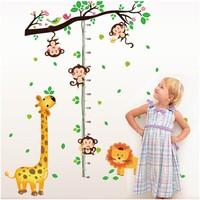 Zooyoo Gelişim Boy Ölçer Boy Tablosu Zürafa Aslan Ağaç Çocuk Odası Ev Duvar Sticker