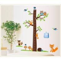 Zooyoo Günün Fırsatı Gelişim Boy Ölçer Boy Tablosu Sincap Tilki Baykuş Çocuk Odası Sticker 185X182 Cm