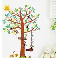 Zooyoo Gelişim Boy Ölçer Boy Tablosu Sevimli Maymun Sincap Baykuş Ağacı Çocuk Odası Ev Duvar Sticker Pvc