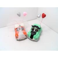Hediye Aşkı Kişiye Özel Plakalı Turuncu Yeşil Süslü Gelin Damat Vosvos Hediye Seti Sevgiliye Hediye