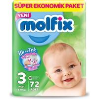 Molfix Bebek Bezi 3 Beden Midi Dev Ekonomik Paket 72 adet