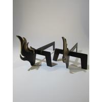 Metal Tasarım Odun Ayağı İkili Takım Alev Model