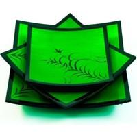 Misiny El Boyama Bambu Desen Yeşil Tabak Seti 3lü Fiyatı