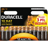 Duracell Alkalin AA Kalem Pil (9+3) 12'li Paket