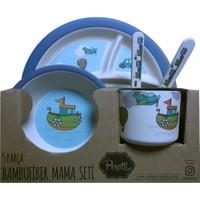 Perotti Bambufiber 5 Parça Mama Seti - Mavi Gemi Araba Uçak