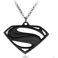 Chavin Superman Siyah Erkek Kolye Dr02