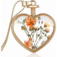 Chavin Yaşayan Kalp Kristal Cam Kurutulmuş Çiçek Bayan Kolye Dr42