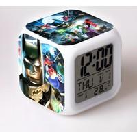 Lopard Batman Lego Dijital Masa Saati 7 Led Işıklı Saat Termometre Başucu Gece Lambası ve Lopard Kalem