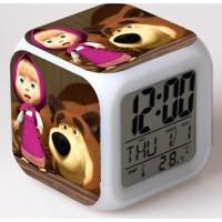 Lopard Masha ve Koca Ayı Dijital Masa Saati 7 Led Işıklı Saat Termometre Başucu Gece Lambası ve Lopard Kalem