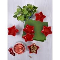 Keramika 6 Adet 8 Cm Mini Yıldız Kırmızı Sosluk