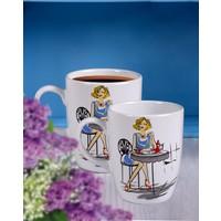 Keramika 2 Adet 9 Cm Havalı Kadınlar Coffee Bulut Kupa