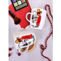Keramika 2 Adet 9 Cm Havalı Kadınlar Karaoke Bulut Kupa